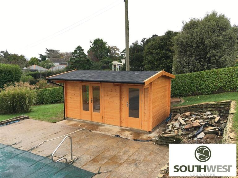 Pool house log cabin in St Mawes, Cornwall